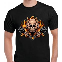 tee-shirt skull in fire